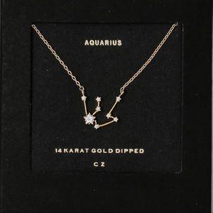 14k Gold Dipped   Aquarius Zodiac Dainty Necklace